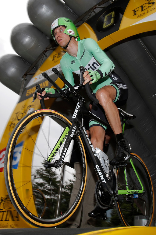 Description of . Bauke Mollema of The Netherlands takes the start of the seventeenth stage of the Tour de France cycling race an individual time trial over 32 kilometers (20 miles) with start in Embrun and finish in Chorges, France, Wednesday July 17, 2013. (AP Photo/Christophe Ena)