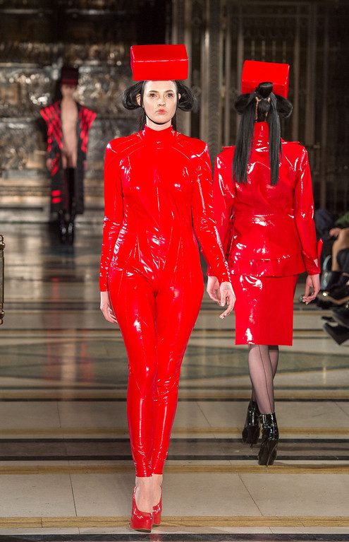 Description of . LONDON, ENGLAND - FEBRUARY 16: A model walks the runwayduring the Pam Hogg show at Freemasons Hall during London Fashion Week Fall/Winter 2013/14 on February 16, 2013 in London, England. (Photo by Samir Hussein/Getty Images)