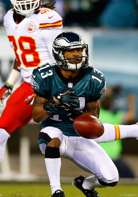 Description of . Damaris Johnson #13 of the Philadelphia Eagles fumbles the ball after calling for a fair catch against the Kansas City Chiefs in the first quarter at Lincoln Financial Field on September 19, 2013 in Philadelphia, Pennsylvania.  (Photo by Rich Schultz/Getty Images)