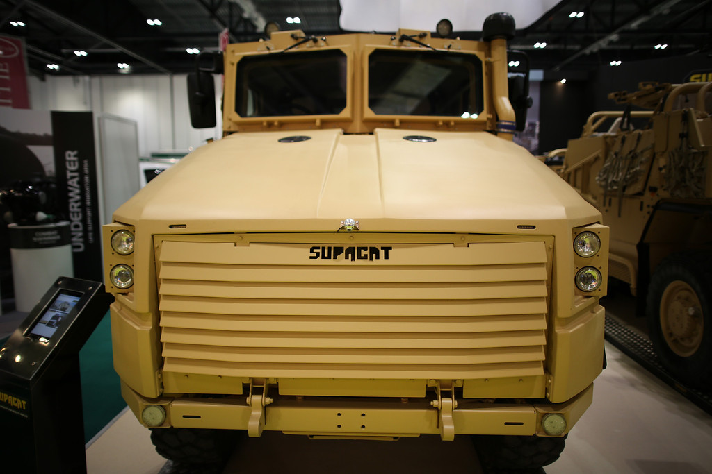 Description of . A Supacat military vehicle is shown at the Defence and Security Exhibition on September 10, 2013 in London, England.  (Photo by Peter Macdiarmid/Getty Images)