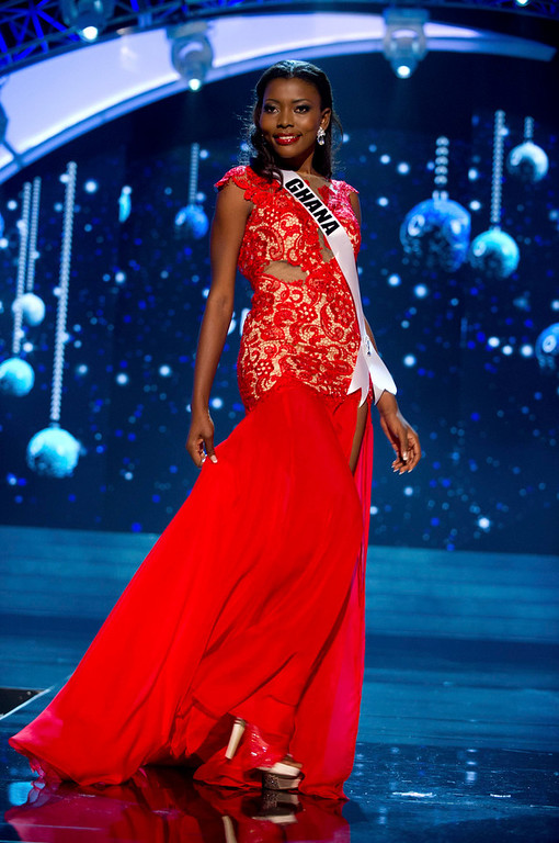 Description of . Miss Ghana 2012 Gifty Ofori competes in an evening gown of her choice during the Evening Gown Competition of the 2012 Miss Universe Presentation Show in Las Vegas, Nevada, December 13, 2012. The Miss Universe 2012 pageant will be held on December 19 at the Planet Hollywood Resort and Casino in Las Vegas. REUTERS/Darren Decker/Miss Universe Organization L.P/Handout