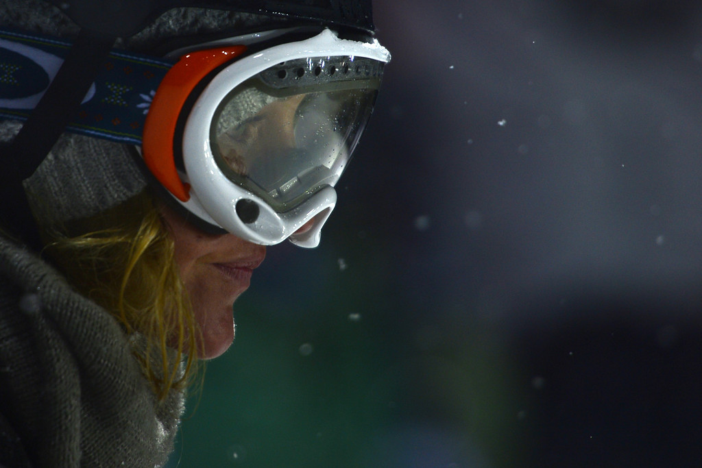 Description of . ASPEN, CO - JANUARY 26: Despite not competing, Gretchen Blieler took a couple runs during practice for the women's snowboard superpipe final. X Games Aspen Buttermilk Mountain January 26, 2013. (Photo By AAron Ontiveroz/ The Denver Post)