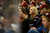 DENVER, CO. - JANUARY 22: A Colorado Avalanche fan watches the action against the Los Angeles Kings during the third period. The Colorado Avalanche Los Angeles Kings at Pepsi Center January 22, 2013. 