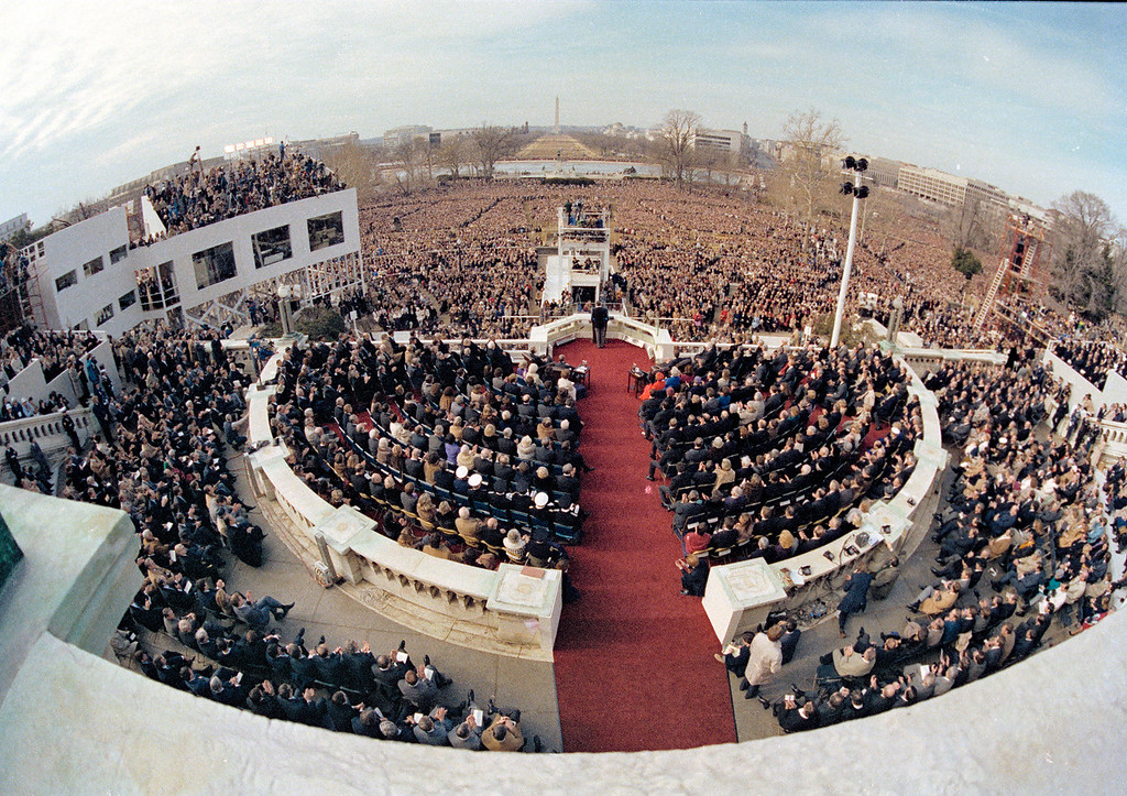 Description of . In this Jan. 20, 1981 file photo, a wide angle view from the Capitol balcony as President Ronald Reagan, visible at center, addresses the nation following his swearing-in ceremony in Washington. (AP Photo)