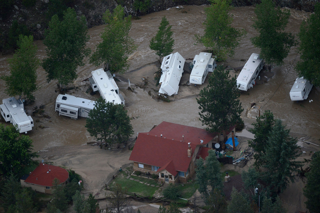 Description of . A washed out trailer camp area along the Big Thompson River after recent floods ravaged the area in the Big Thompson Canyon in Larimer County Colorado Saturday morning, September 14, 2013. (Photo By Andy Cross/The Denver Post)