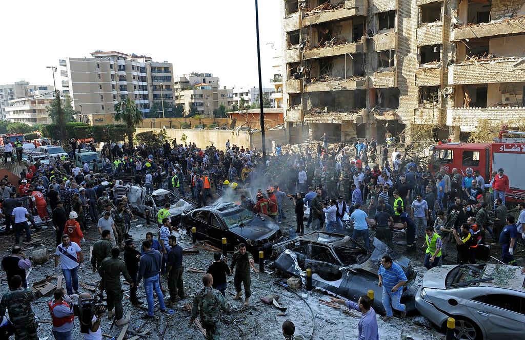 . A general view of the scene after a number of explosions near the Iranian embassy in Beirut, Lebanon, early 19 November 2013. Reports vary regarding fatalities but at least 15 people are believed to have been killed in south Beirut, a stronghold of the Hezbollah militant movement  EPA/WAEL HAMZEH