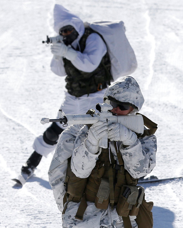 Description of . A U.S. Marine from 3-Marine Expeditionary Force 1st Battalion from Kaneho Bay, Hawaii, front, and a South Korean Marine aim their guns during their joint military winter exercise in Pyeongchang, east of Seoul, South Korea, Thursday, Feb. 7, 2013. More than 400 marines from the two countries participated in the Feb. 4-22 joint winter exercise held for the first time in South Korea. (AP Photo/Lee Jin-man)