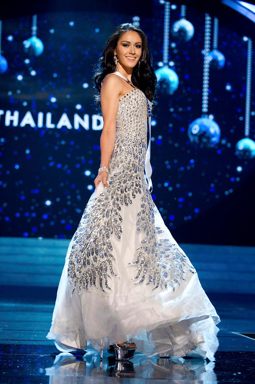 Description of . Miss Thailand 2012 Nutpimon Farida Waller competes in an evening gown of her choice during the Evening Gown Competition of the 2012 Miss Universe Presentation Show in Las Vegas, Nevada, December 13, 2012. The Miss Universe 2012 pageant will be held on December 19 at the Planet Hollywood Resort and Casino in Las Vegas. REUTERS/Darren Decker/Miss Universe Organization L.P/Handout