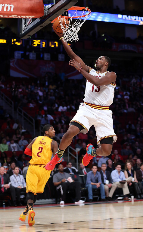 Description of . HOUSTON, TX - FEBRUARY 15:  Tristan Thompson #13 of the Cleveland Cavaliers and Team Chuck goes up for a shot in the BBVA Rising Stars Challenge 2013 part of the 2013 NBA All-Star Weekend at the Toyota Center on February 15, 2013 in Houston, Texas.  (Photo by Ronald Martinez/Getty Images)