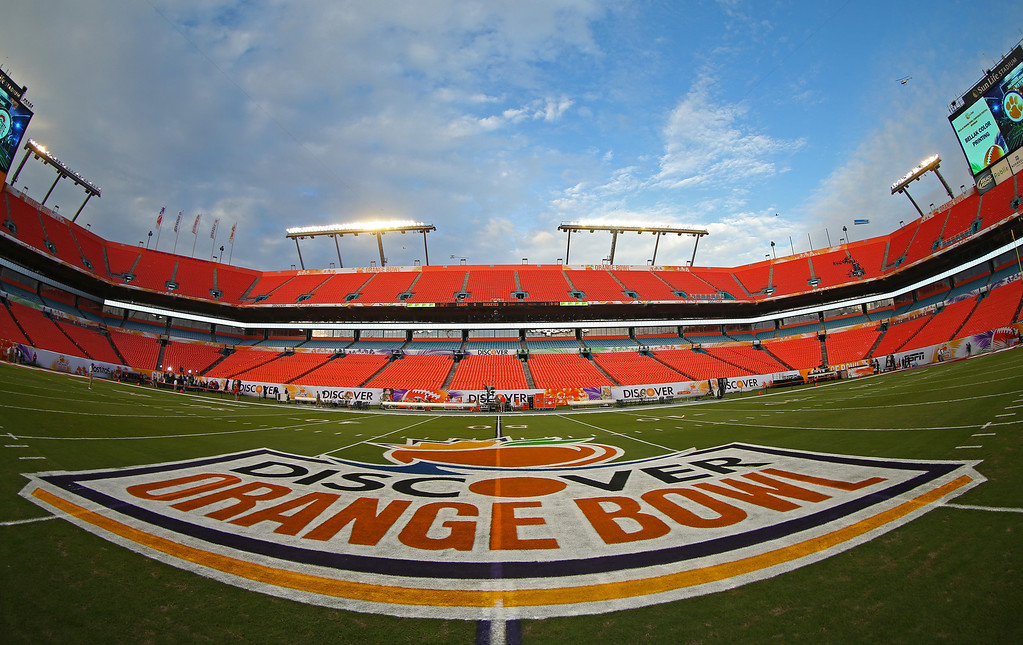 Description of . MIAMI GARDENS, FL - JANUARY 03:  A general view of the 50 yard line logo prior to the Discover Orange Bowl between the Clemson Tigers and the Ohio State Buckeyes at Sun Life Stadium on January 3, 2014 in Miami Gardens, Florida.  (Photo by Mike Ehrmann/Getty Images)