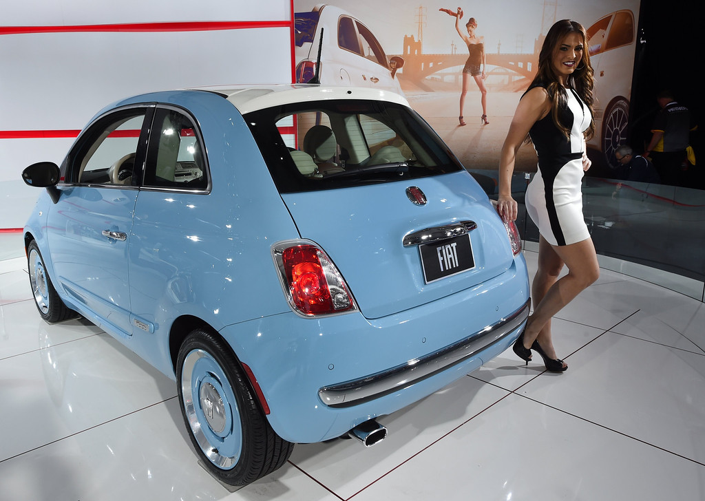 Description of . The Fiat 500 1957 Edition on display during the first press preview day at the 2014 New York International Auto Show April16, 2014 at the Jacob Javits Center in New York. The show opens to the public on April 18 and runs through the 27th.  AFP PHOTO / Timothy A. Clary/AFP/Getty Images