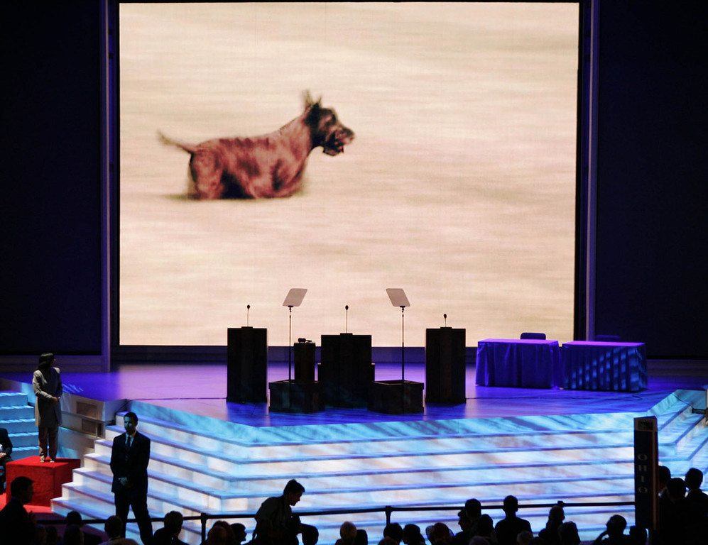 Description of . President Bush's dog, Barney is seen in a Republican National Committee video presented to the delegates on the third day of the Republican National Convention on Wednesday, Sept. 1, 2004, at Madison Square Garden in New York. (AP Photo/J. Scott Applewhite)