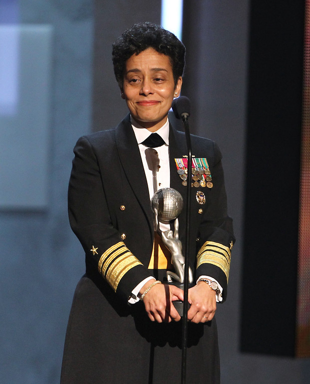 Description of . Vice Admiral Michelle Howard accepts the Chairman\'s award at the 44th Annual NAACP Image Awards at the Shrine Auditorium in Los Angeles on Friday, Feb. 1, 2013. (Photo by Matt Sayles/Invision/AP)