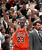 Chicago Bulls guard Michael Jordan holds up six fingers for the six NBA Championships the Bulls have won after Chicago defeated 87-86 in Salt Lake City, in this June 14, 1998. If Michael Jordan returns to the NBA, there's a 99.9 percent chance that every young whippersnapper in the league will be looking to knock a little of the tarnish off his legend.  At 38, he would be a marked man among a new generation of players who were toddlers back when Jordan was pushing Magic Johnson and Larry Bird aside.(AP Photo/Mark J. Terrill)