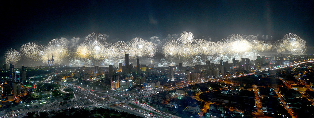 . This Nov. 10, 2012 file photo shows a view of the fireworks display organized by Kuwait\'s government to commemorate Constitution Day in Kuwait City. The 60 minute $14 million spectacle was competing for a place in the Guiness Book of Records. (AP Photo/Gustavo Ferrari, File)