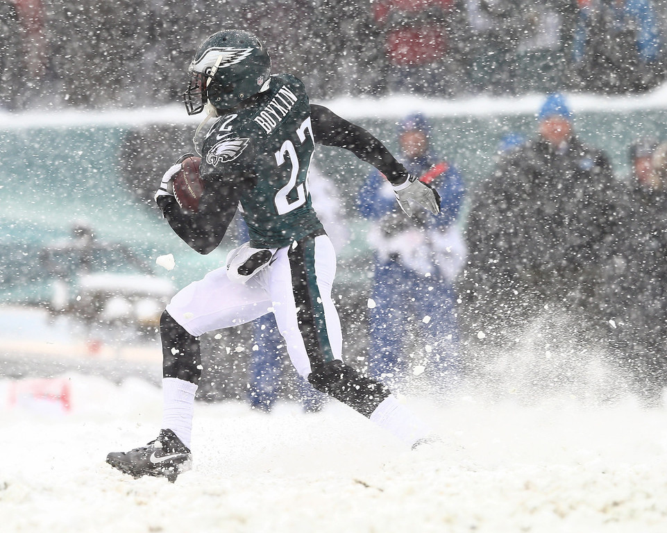 Description of . Brandon Boykin #22 of the Philadelphia Eagles carries the ball in the third quarter against the Detroit Lions on December 8, 2013 at Lincoln Financial Field in Philadelphia, Pennslyvania.  (Photo by Elsa/Getty Images)
