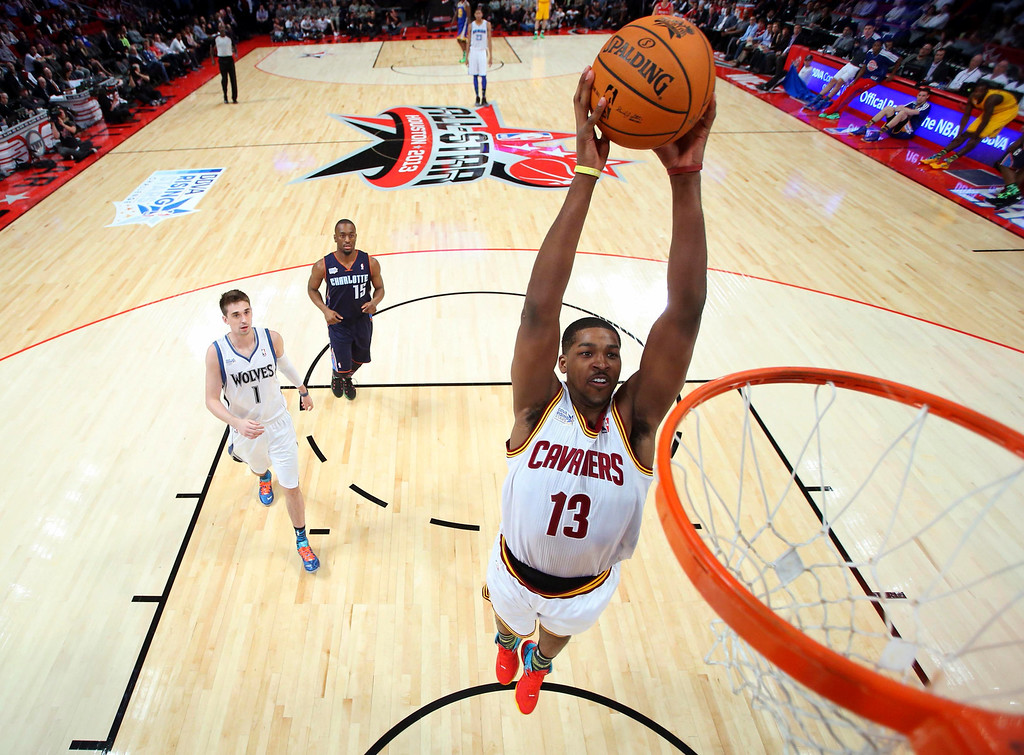 Description of . Cleveland Cavaliers Tristan Thompson goes in for a dunk during the first half of the NBA BBVA Rising Star Challenge basketball game in Houston, Texas, February 15, 2013. REUTERS/Ronald Martinez/Pool