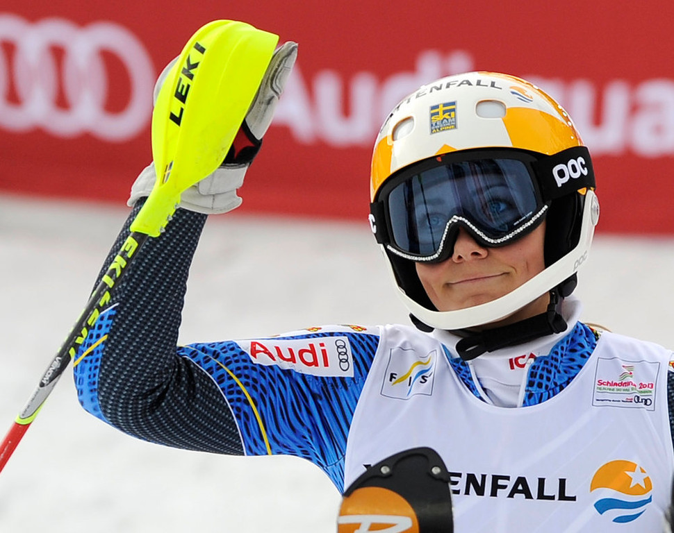 Description of . Sweden's Frida Hansdotter reacts after she completes the second run of the women's slalom at the 2013 Ski World Championships in Schladming, Austria on February 16, 2013. SAMUEL KUBANI/AFP/Getty Images