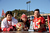 (L-R) San Francisco 49ers fans Ruben Reyes, Cassandra Marie Reyes and Jose Reyes of San Francisco, California pose prior to the NFC Divisional Playoff Game between the Green Bay Packers and the San Francisco 49ers at Candlestick Park on January 12, 2013 in San Francisco, California.  (Photo by Thearon W. Henderson/Getty Images)