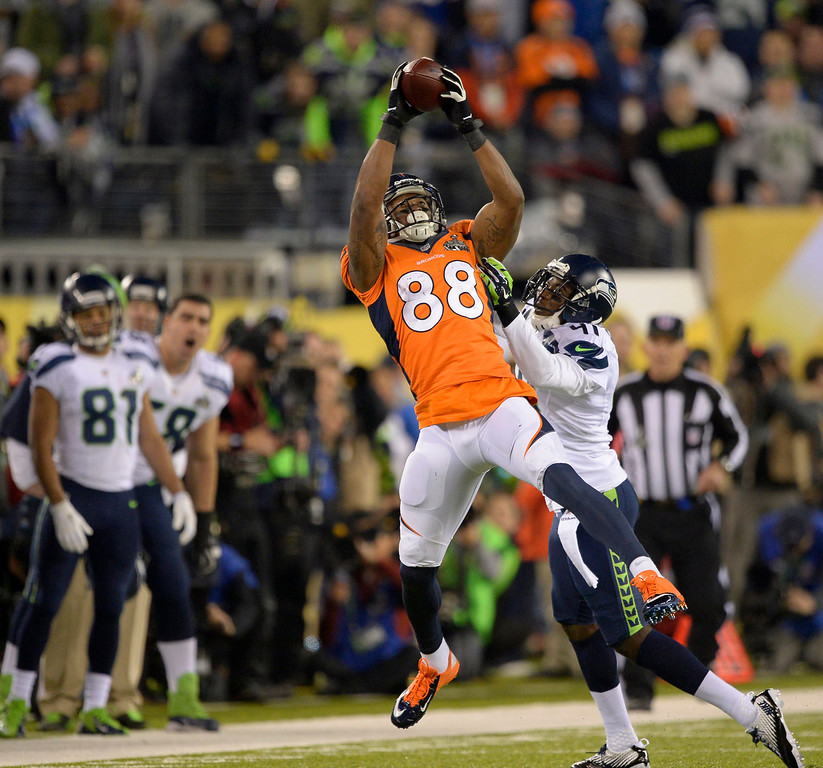 Description of . Denver Broncos wide receiver Demaryius Thomas (88) makes a catch during the second quarter. The Denver Broncos vs the Seattle Seahawks in Super Bowl XLVIII at MetLife Stadium in East Rutherford, New Jersey Sunday, February 2, 2014. (Photo by John Leyba/The Denver Post)