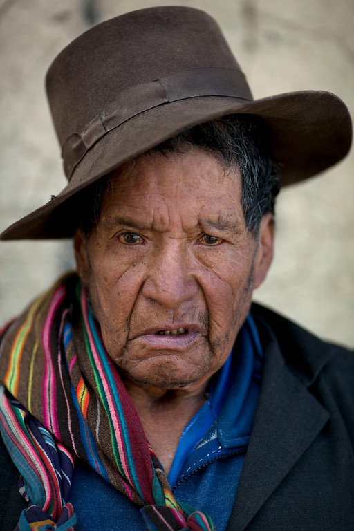 Description of . Pedro Vega Yucra, 80, stands for a photo in Chacas, a small village in Ayacucho, Peru, on Saturday, June 15, 2013. When asked: As you grow older, what are you most afraid of and what is the biggest problem facing the elderly in your country? Yucra said