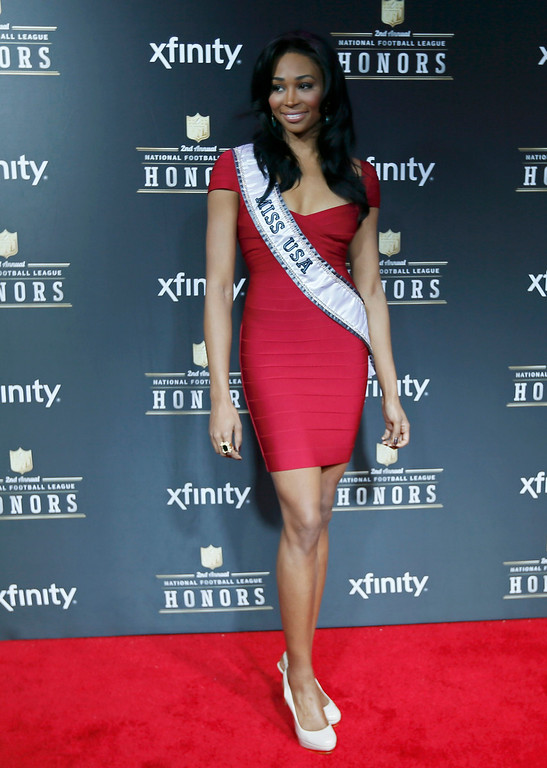 Description of . Miss USA Nana Meriwether arrives at the 2nd Annual NFL Honors in New Orleans, Louisiana, February 2, 2013. The San Francisco 49ers will meet the Baltimore Ravens in the NFL Super Bowl XLVII football game February 3.  REUTERS/Lucy Nicholson