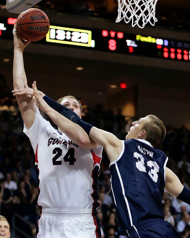 Description of . Gonzaga's Przemek Karnowski (24) puts up a shot against BYU's Nate Austin (33) in the first half of the NCAA West Coast Conference tournament championship college basketball game, Tuesday, March 11, 2014, in Las Vegas. (AP Photo/Julie Jacobson)