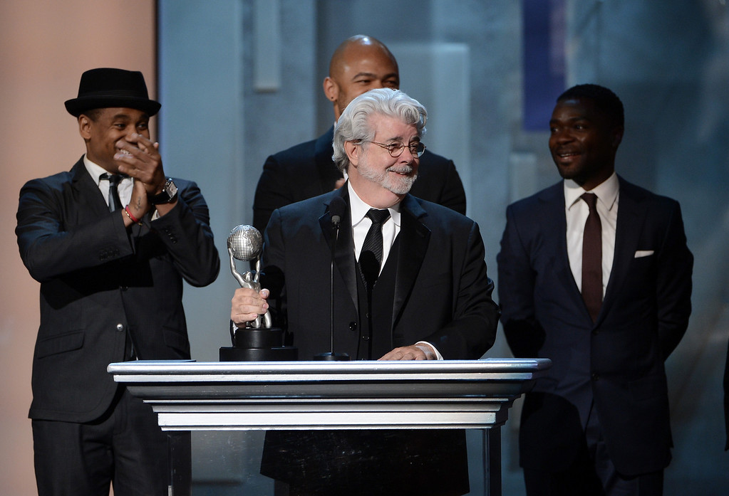 Description of . LOS ANGELES, CA - FEBRUARY 01:  Producer George Lucas accepts Vanguard Award onstage during the 44th NAACP Image Awards at The Shrine Auditorium on February 1, 2013 in Los Angeles, California.  (Photo by Kevin Winter/Getty Images for NAACP Image Awards)