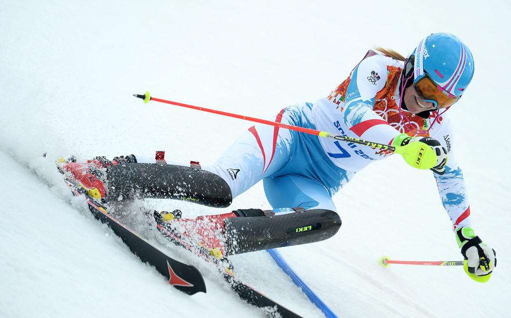 Description of . Marlies Schild of Austria in action during the first run of the Women's Slalom race at the Rosa Khutor Alpine Center during the Sochi 2014 Olympic Games, Krasnaya Polyana, Russia, 21 February 2014.  EPA/VASSIL DONEV