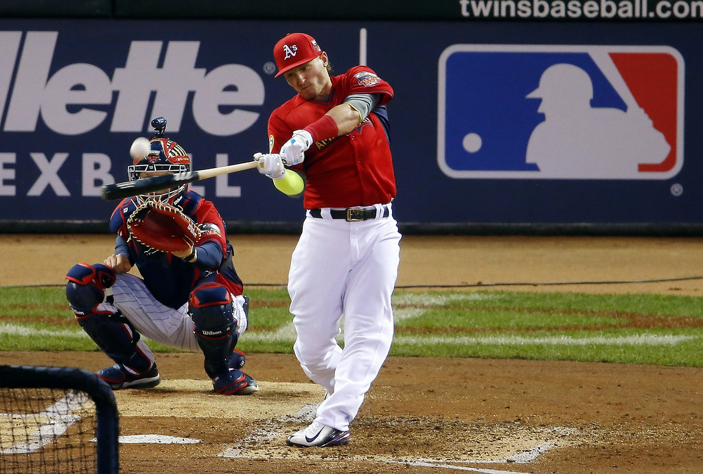 Description of . American League's Josh Donaldson, of the Oakland Athletics, hits during the MLB All-Star baseball Home Run Derby, Monday, July 14, 2014, in Minneapolis. (AP Photo/Paul Sancya)