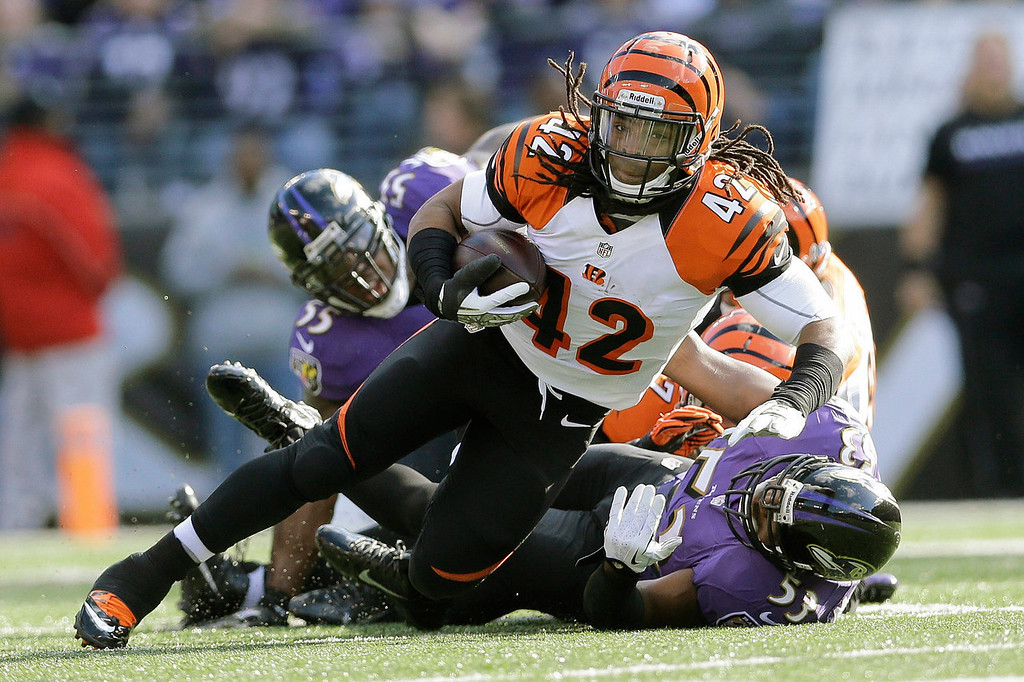 Description of . Cincinnati Bengals running back BenJarvus Green-Ellis (42)carries the ball for short yardage past Baltimore Ravens outside linebacker Terrell Suggs, left, and inside linebacker Jameel McClain, right, during the first half of an NFL football game in Baltimore, Sunday, Nov. 10, 2013. (AP Photo/Patrick Semansky)