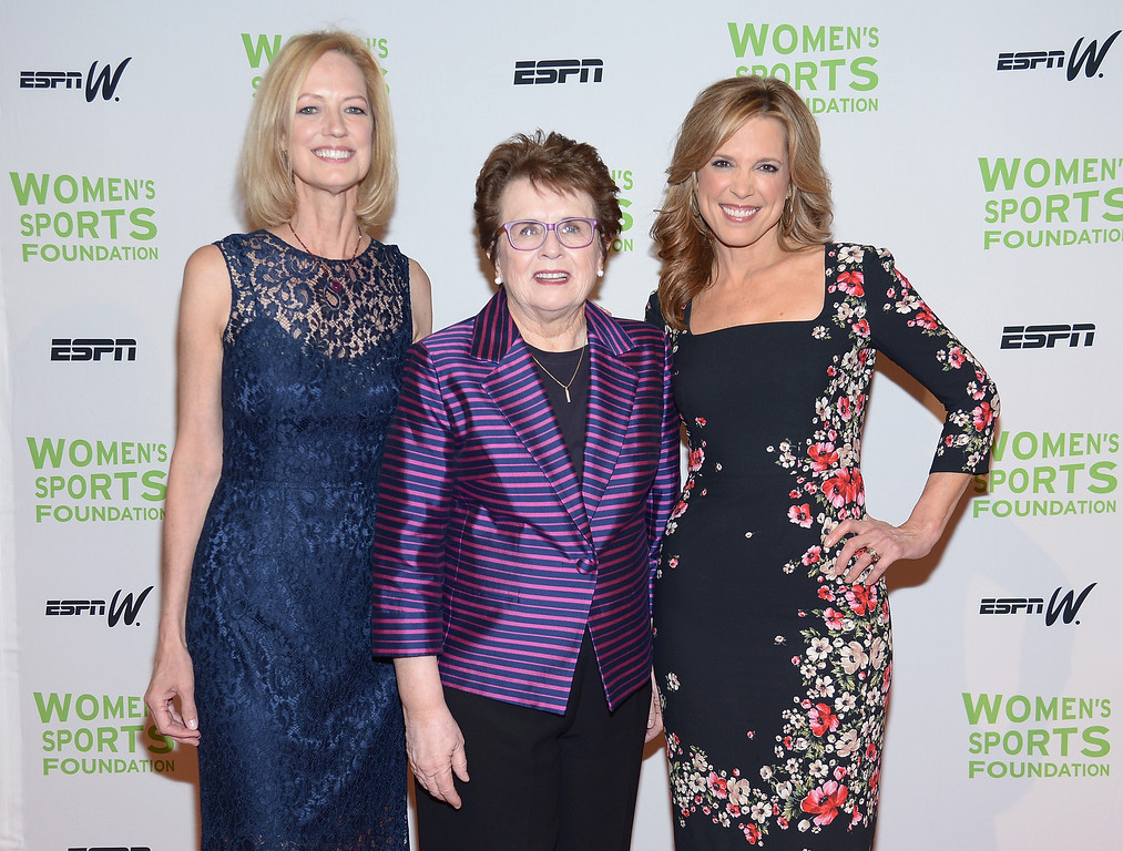 Description of . NEW YORK, NY - OCTOBER 16:  (L-R) Women's Sports Foundation CEO Kathryn Olson, Womens Sports Foundation Founder Billie Jean King and ESPN sports journalist Hannah Storm attend the 34th annual Salute to Women In Sports Awards at Cipriani, Wall Street on October 16, 2013 in New York City.  (Photo by Michael Loccisano/Getty Images for the Women's Sports Foundation)