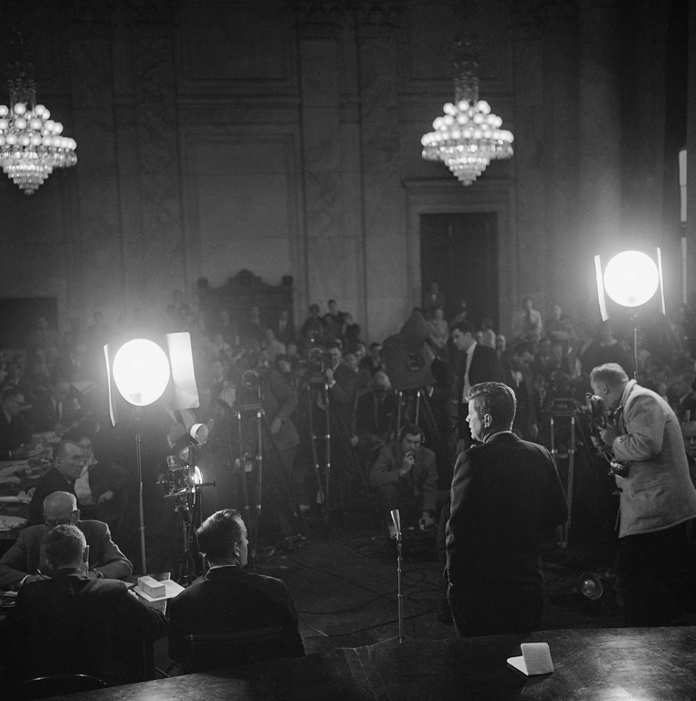 Description of . Sen. Kennedy announces his formal entry into the race for the Democratic presidential nomination in front of the press the Senate's Caucus Room on Jan. 2, 1960. Associated Press file