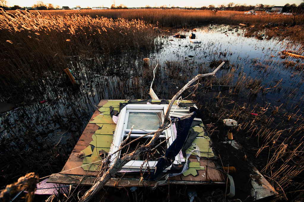Description of . A portion of a home sits among reeds after being deposited in a marshy area by the storm surge of superstorm Sandy in the Staten Island borough neighborhood of Oakwood in New York, November 28, 2012.  REUTERS/Lucas Jackson