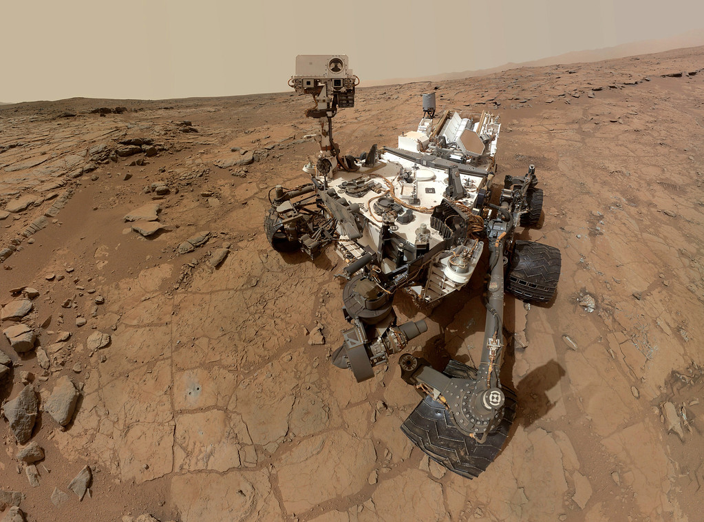 Description of . FILE - This photo released by NASA shows a self-portrait taken by the NASA rover Curiosity in Gale Crater on Mars. (AP Photo/NASA)