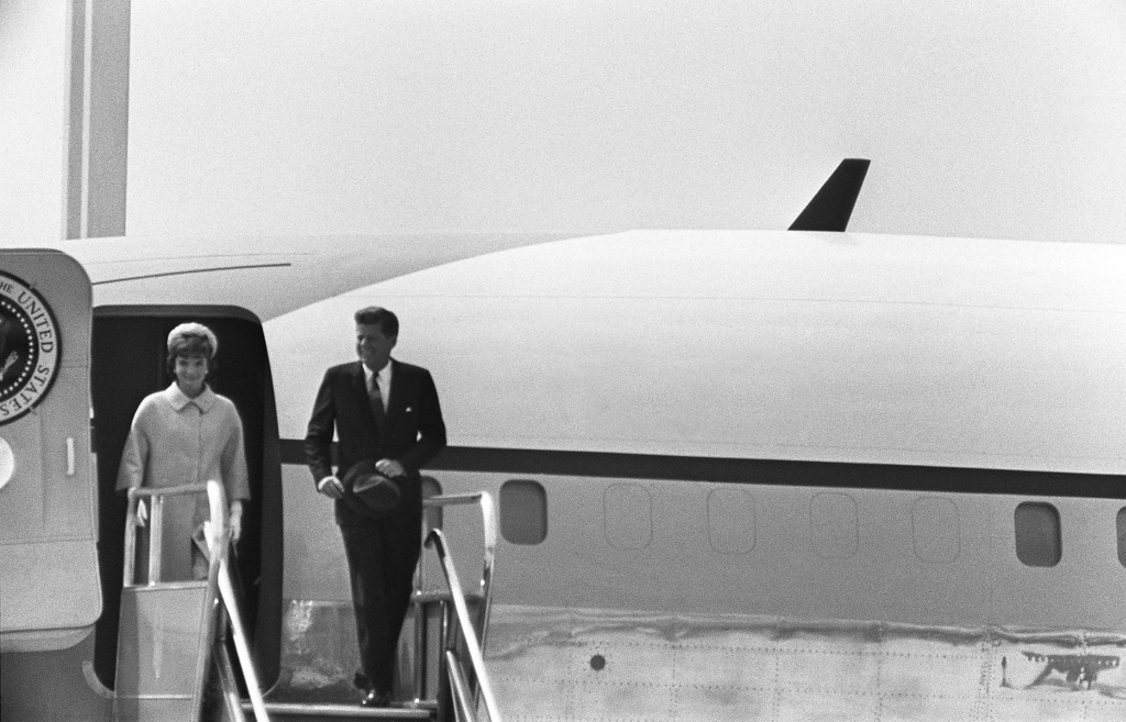 Description of . The president and first lady disembark from Air Force One in May 1961 at Paris Orly airport prior to their official visit to France. Kennedy was the first Catholic, and the youngest person, to be elected for Democratic party as president of the U.S.   AFP/Getty Images