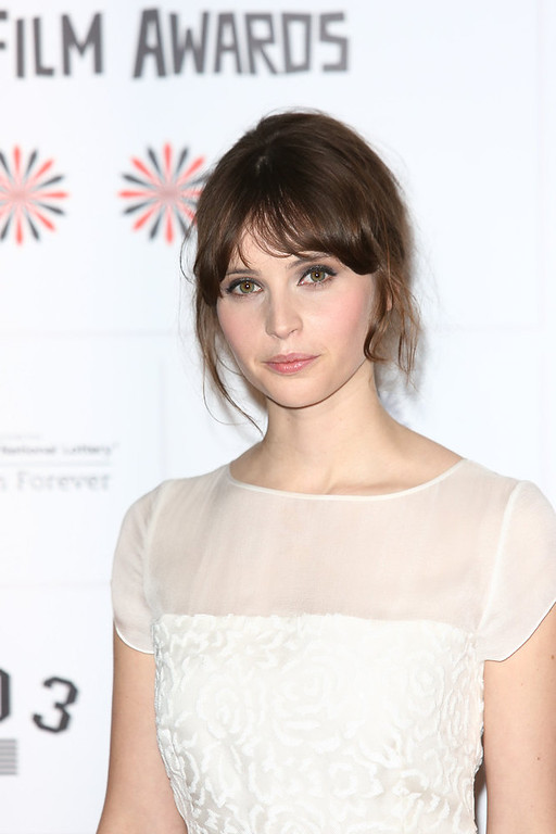 Description of . Felicity Jones attends the British Independent Film Awards at Old Billingsgate Market on December 9, 2012 in London, England.  (Photo by Tim Whitby/Getty Images)