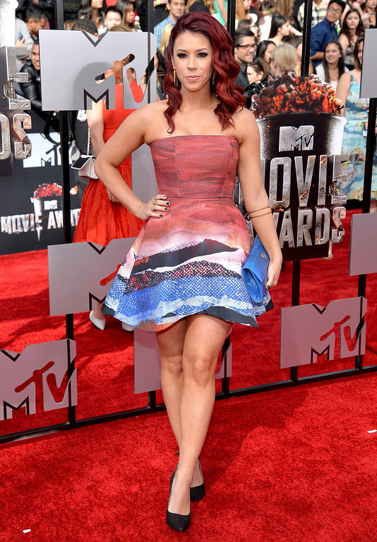 Description of . Actress Jillian Rose Reed attends the 2014 MTV Movie Awards at Nokia Theatre L.A. Live on April 13, 2014 in Los Angeles, California.  (Photo by Michael Buckner/Getty Images)