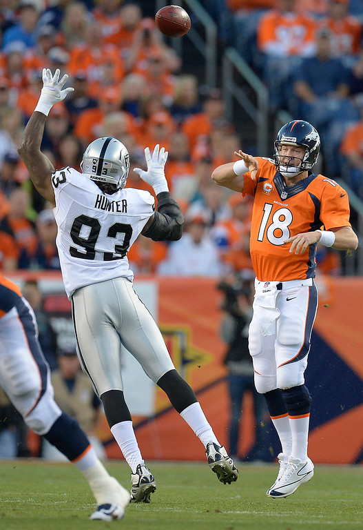 Description of . Denver Broncos quarterback Peyton Manning (18) makes a pass in the first quarter. The Denver Broncos took on the Oakland Raiders at Sports Authority Field at Mile High in Denver on September 23, 2013. (Photo by John Leyba/The Denver Post)