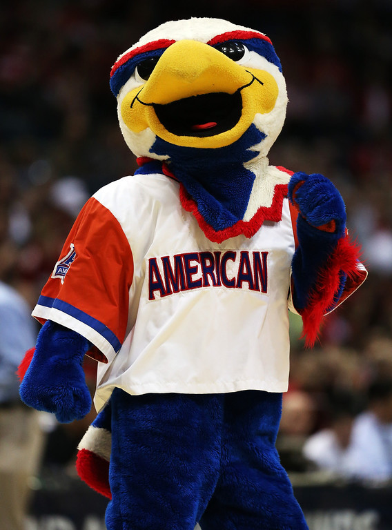 Description of . The American University Eagles mascot, Clawed the Eagle, performs during the second round game of NCAA Basketball Tournament against the Wisconsin Badgers at BMO Harris Bradley Center on March 20, 2014 in Milwaukee, Wisconsin.  (Photo by Jonathan Daniel/Getty Images)