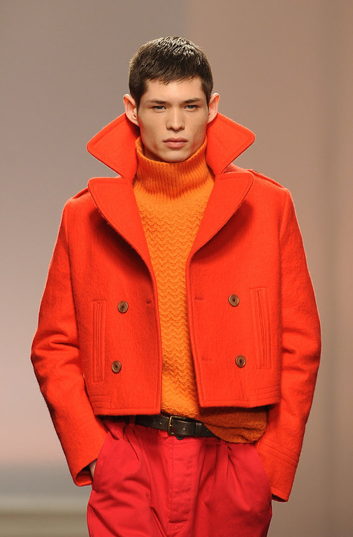 . A model walks the catwalk during the Topman Design show at the London Collections: MEN AW13 at The Old Sorting Office on January 7, 2013 in London, England. (Photo by Stuart Wilson/Getty Images)