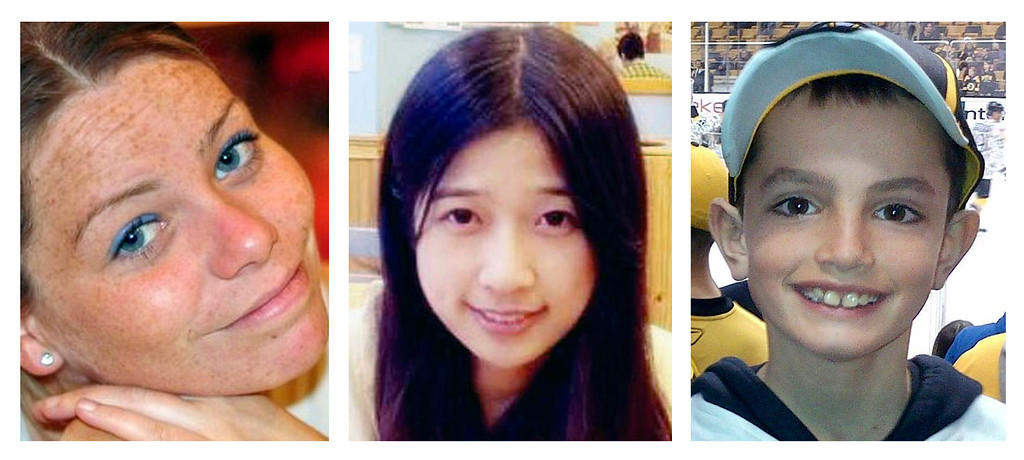 Description of . This combination of undated file photos shows, from left, Krystle Campbell, 29, Lu Lingzi, a Boston University graduate student from China, and Martin Richard, 8, all who were killed in the bombings near the finish line of the Boston Marathon on April 15, 2013, in Boston. Prosecutors rested their case Monday, March 30, 2015, against Boston Marathon bomber Dzhokhar Tsarnaev, after jurors in his federal death penalty trial saw gruesome autopsy photos and heard a medical examiner describe the devastating injuries suffered by the three people who died in the 2013 terror attack. (AP Photo/File)