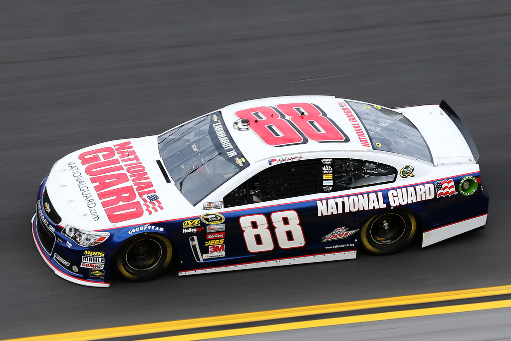 . DAYTONA BEACH, FL - FEBRUARY 20:  Dale Earnhardt Jr. drives the #88 National Guard Chevrolet during practice for the NASCAR Sprint Cup Series Daytona 500 at Daytona International Speedway on February 20, 2013 in Daytona Beach, Florida.  (Photo by Matthew Stockman/Getty Images)
