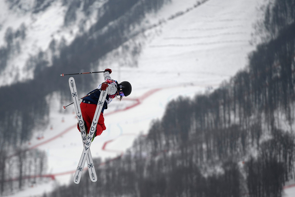 Description of . Silvia Bertagna of Italy competes in the first run of the women\'s Freestyle Skiing Slopestyle final in the Rosa Khutor Extreme Park at the Sochi 2014 Olympic Games, Krasnaya Polyana, Russia, 11 February 2014.  EPA/JENS BUETTNER