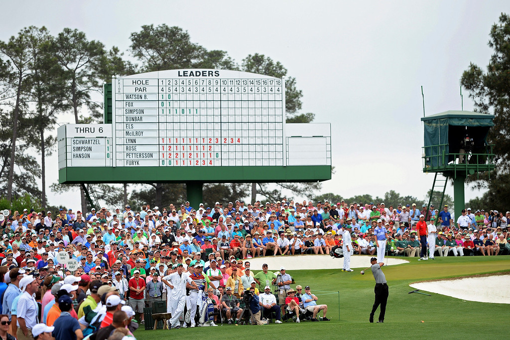 . Tiger Woods of the United States tees off on the third hole during the first round of the 2013 Masters Tournament at Augusta National Golf Club on April 11, 2013 in Augusta, Georgia.  (Photo by Harry How/Getty Images)