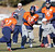 Denver Broncos quarterback Peyton Manning (18) turns to hand off to Denver Broncos running back Knowshon Moreno (27) during practice Thursday, January 3, 2013 at Dove Valley.  John Leyba, The Denver Post