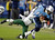 Tennessee Titans quarterback Jake Locker (10) is tackled by New York Jets free safety LaRon Landry (30) in the third quarter of an NFL football game, Monday, Dec. 17, 2012, in Nashville, Tenn. (AP Photo/Wade Payne)
