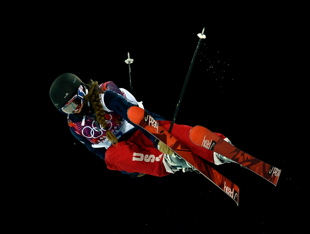 Description of . US Maddie Bowman competes in the Women's Freestyle Skiing Halfpipe finals at the Rosa Khutor Extreme Park during the Sochi Winter Olympics on February 20, 2014.  FRANCK FIFE/AFP/Getty Images