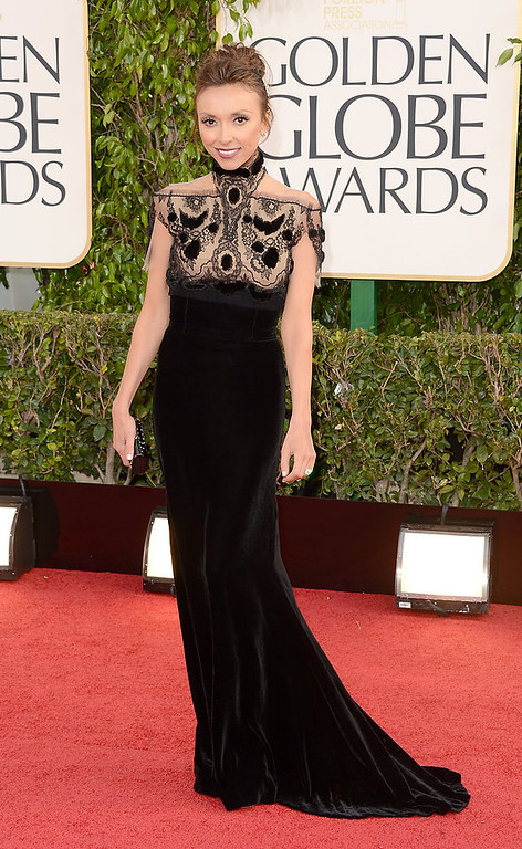 Description of . TV personality Giuliana Rancic arrives at the 70th Annual Golden Globe Awards held at The Beverly Hilton Hotel on January 13, 2013 in Beverly Hills, California.  (Photo by Jason Merritt/Getty Images)