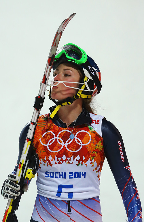 Description of . Mikaela Shiffrin of the United States celebrates winning gold after her second run during the Women's Slalom during day 14 of the Sochi 2014 Winter Olympics at Rosa Khutor Alpine Center on February 21, 2014 in Sochi, Russia.  (Photo by Doug Pensinger/Getty Images)